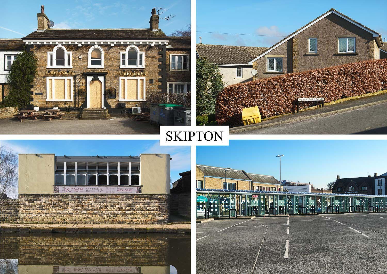 postcard of banal buildings, Skipton