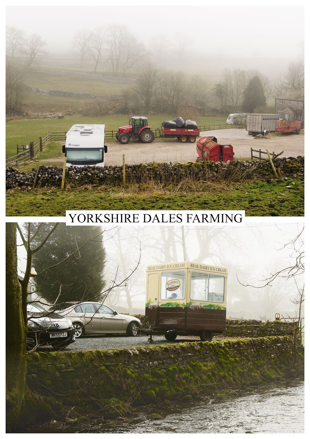 postcard of farming and tourism, Yorkshire Dales