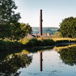 Chimney on canal, Burnley