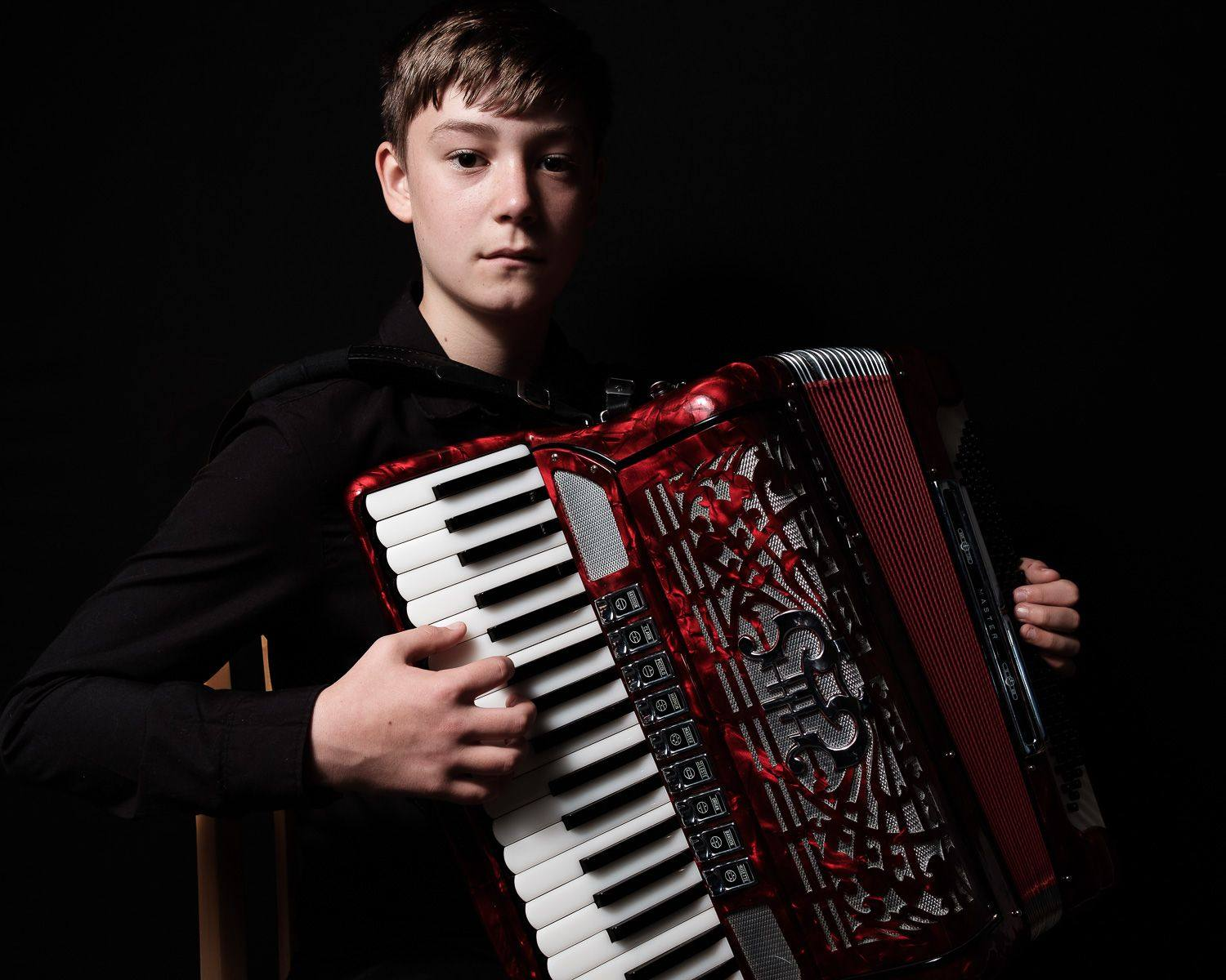 portrait of piano accordian player