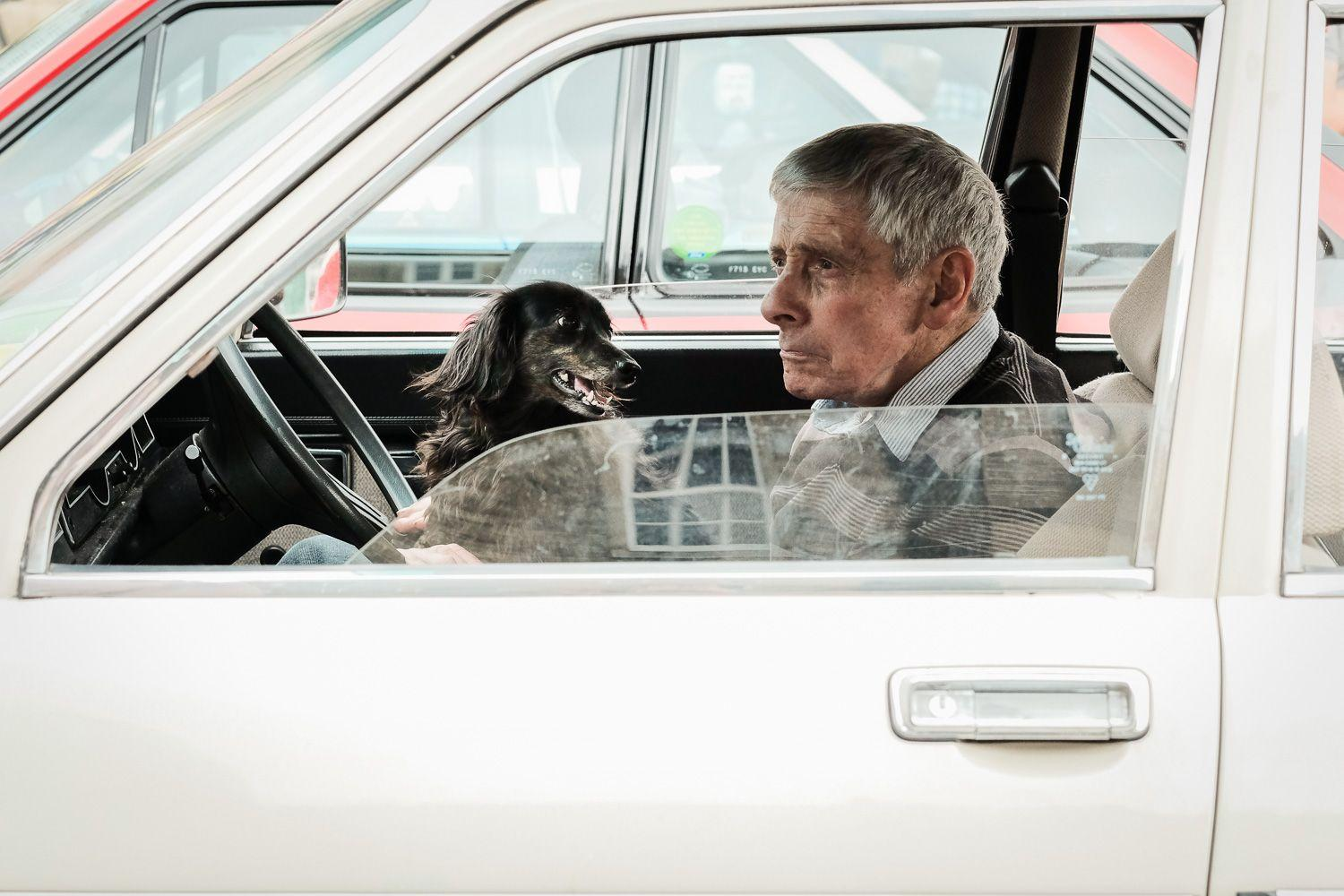 street photo of man sitting in car with dog on lap